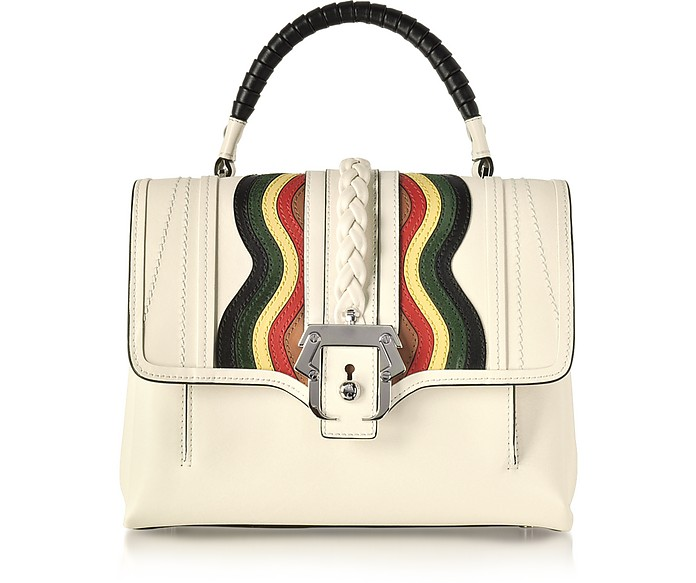 Petite Faye White Leather Satchel Bag - Paula Cademartori