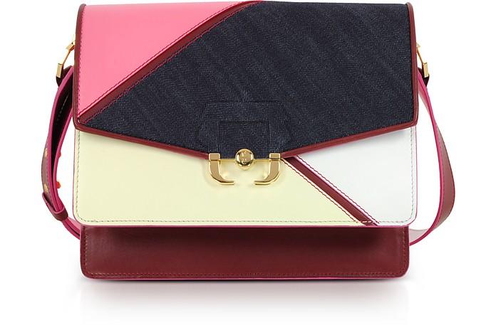 Geranium Pink Leather and Denim Twi Twi Boho Shoulder Bag - Paula Cademartori