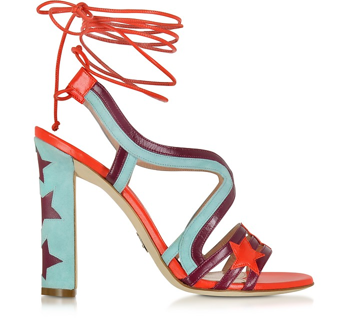 Starry Red & Turquoise Leather and Suede Sandal - Paula Cademartori
