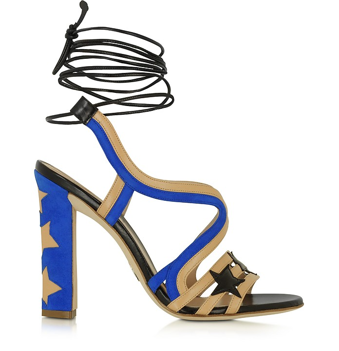Starry Beige & Blue Leather and Suede Sandal - Paula Cademartori