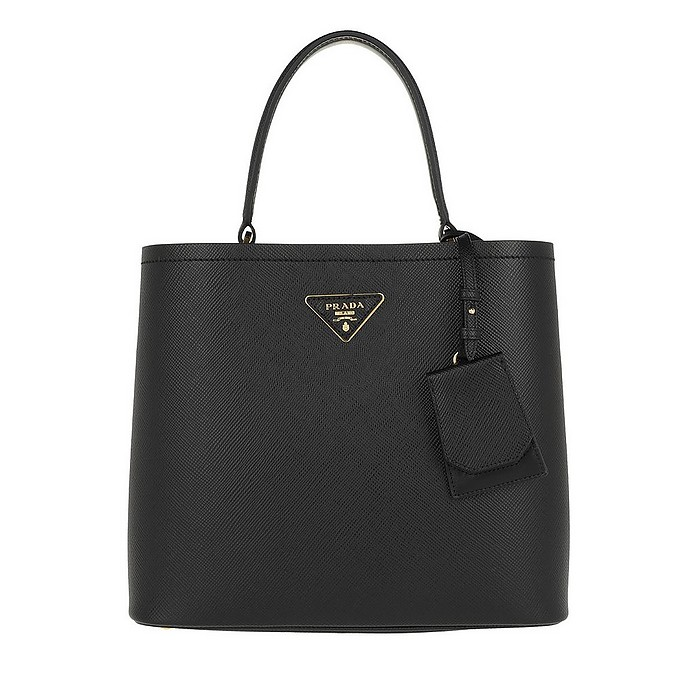 Double Saffiano Leather Bag Nero/Fuoco - Prada