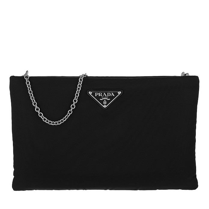 Padded Nylon Clutch Medium Nero - Prada