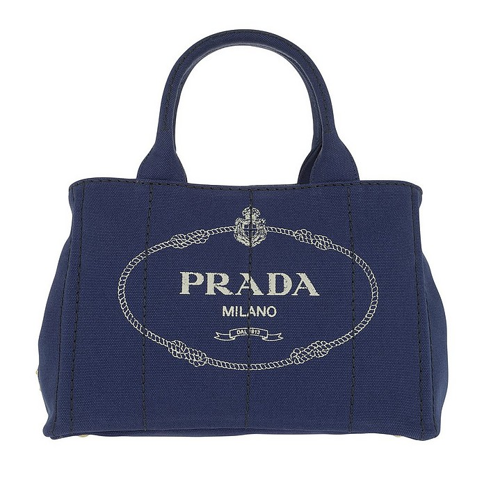 Canapa Shopping Bag Bluette/Talco - Prada
