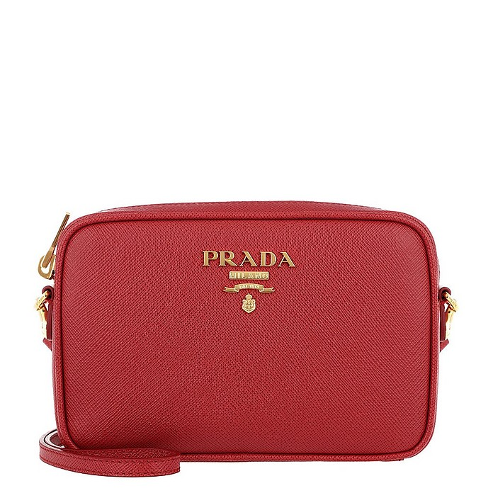 Crossbody Bag Medium Saffiano Leather Fuoco - Prada
