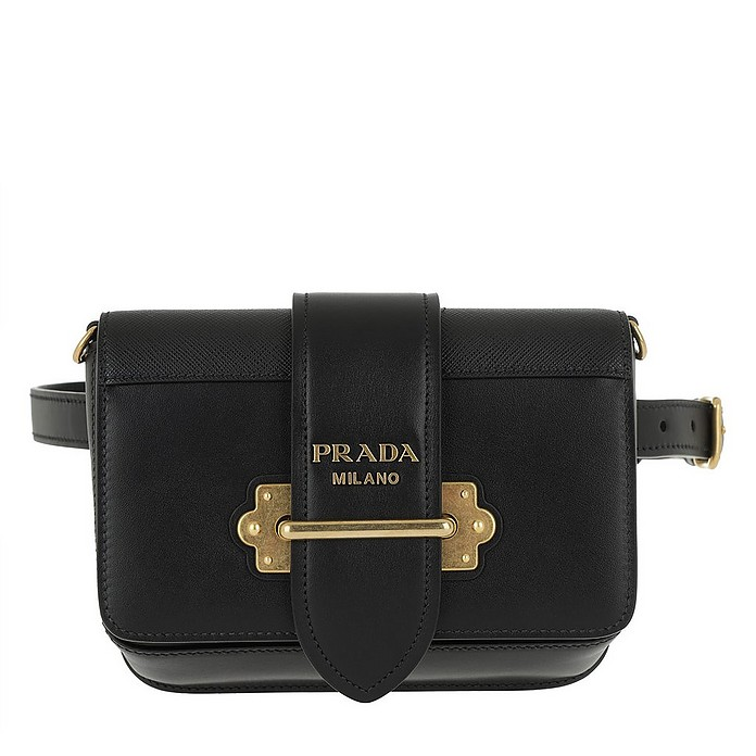 eb2c68c93c3ab Prada Cahier Studded Belt Bag Leather Black at FORZIERI