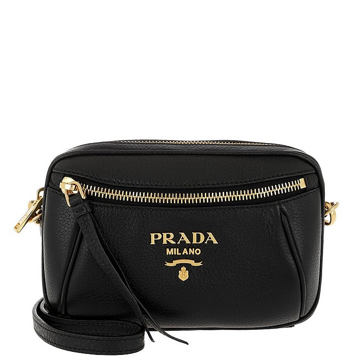 Grained Leather Belt Bag Nero - Prada