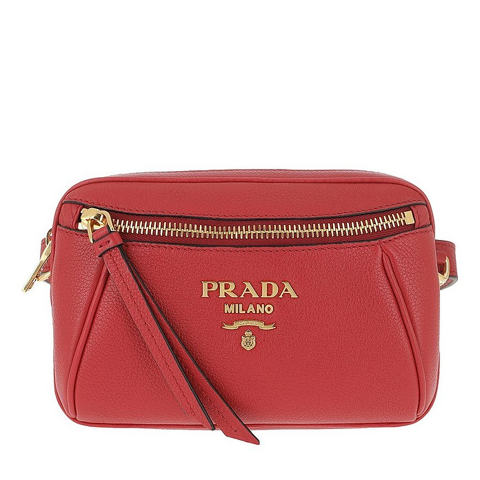Grained Leather Belt Bag Rosso - Prada