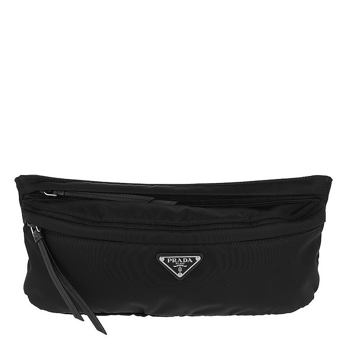 Fabric and Leather Belt Bag Black - Prada
