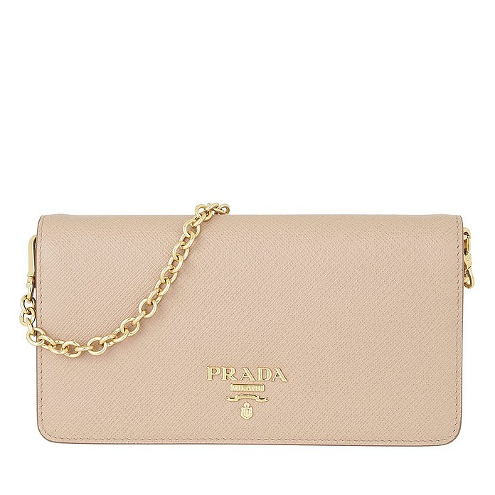 Logo Wallet on Chain Saffiano Leather Cipria - Prada