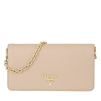 c5cf35e17d82 Logo Wallet on Chain Saffiano Leather Cipria - Prada