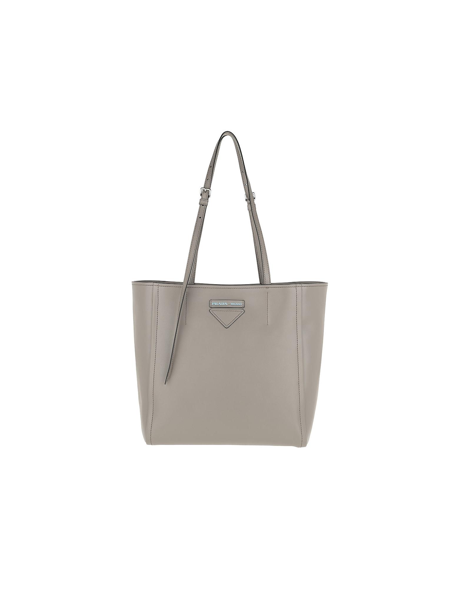 497f6ff38f96 Prada Logo Tote Bag Rivets Leather Argilla/Nero In Grey | ModeSens