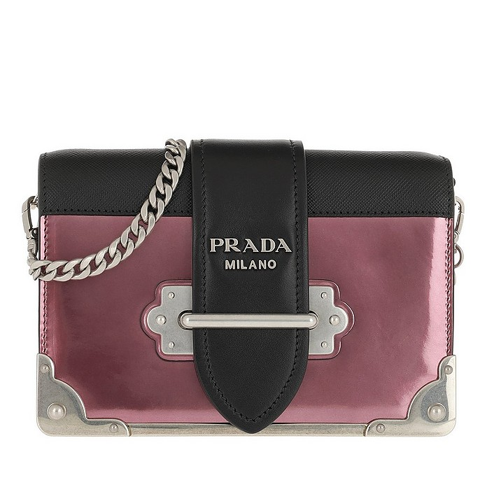 Cahier Shoulder Bag Metallic Leather Ibisco/Nero - Prada