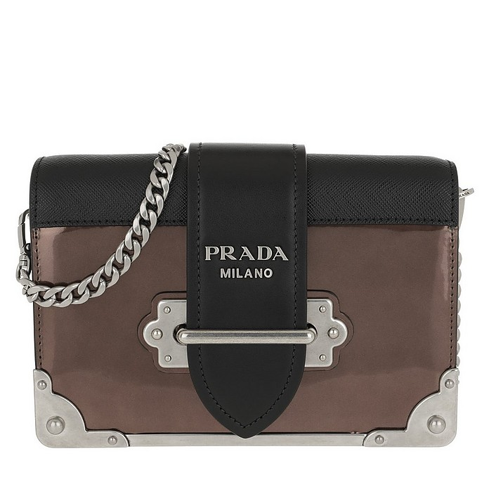 Cahier Shoulder Bag Metallic Leather Cammeo/Nero - Prada