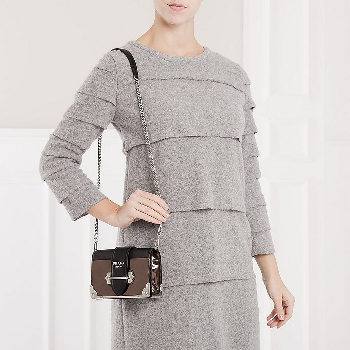 79e3e9aa005b Cahier Shoulder Bag Metallic Leather Cammeo/Nero - Prada. €1.438,50  €1.918,00 Actual transaction amount