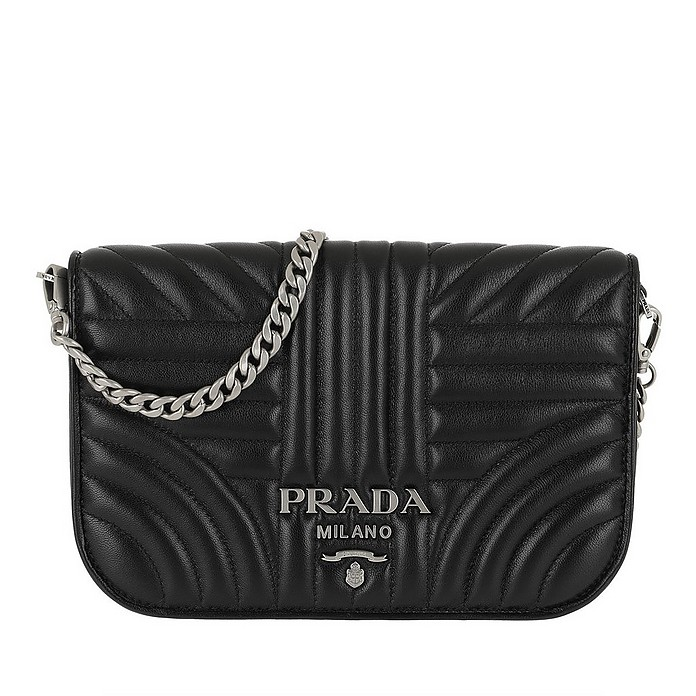 Quilted Diagramme Nappa Leather Bag Black Silver - Prada