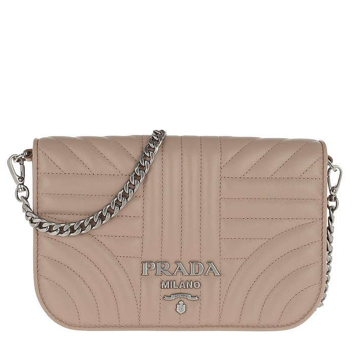 Quilted Diagramme Nappa Leather Bag Cipria - Prada