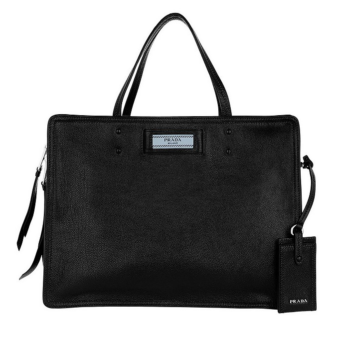 Blue Logo Tote Leather Nero/Astrale - Prada
