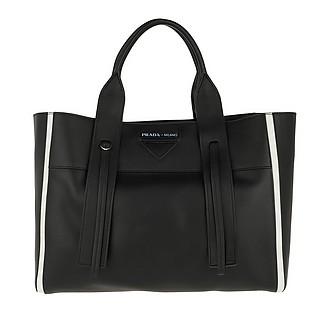 718824345095 Ouverture Large Bag Leather Black - Prada