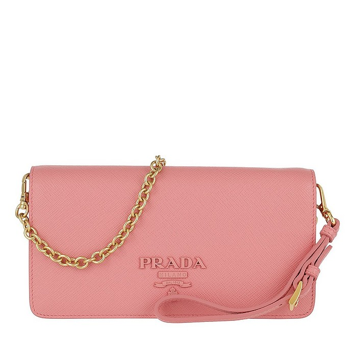 Logo Mini Flap Shoulder Bag Leather Petalo - Prada
