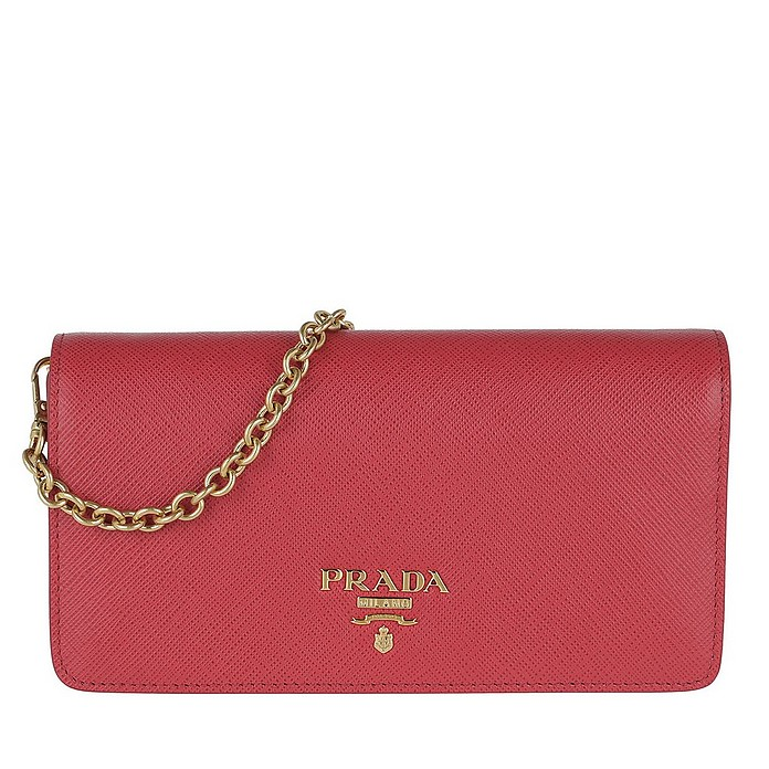 Logo Wallet On Chain Saffiano Leather Peonia - Prada