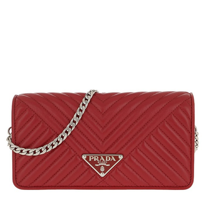 Mini Crossbody Bag Quilted Leather Red - Prada
