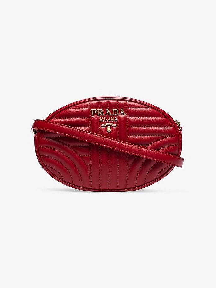 Red Diagram oval shoulder bag - Prada