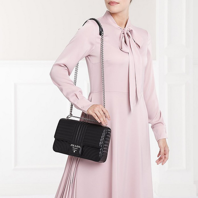 8f848d36e53a Diagramme Leather Shoulder Bag Nero2 - Prada. $2,178.00 Actual transaction  amount