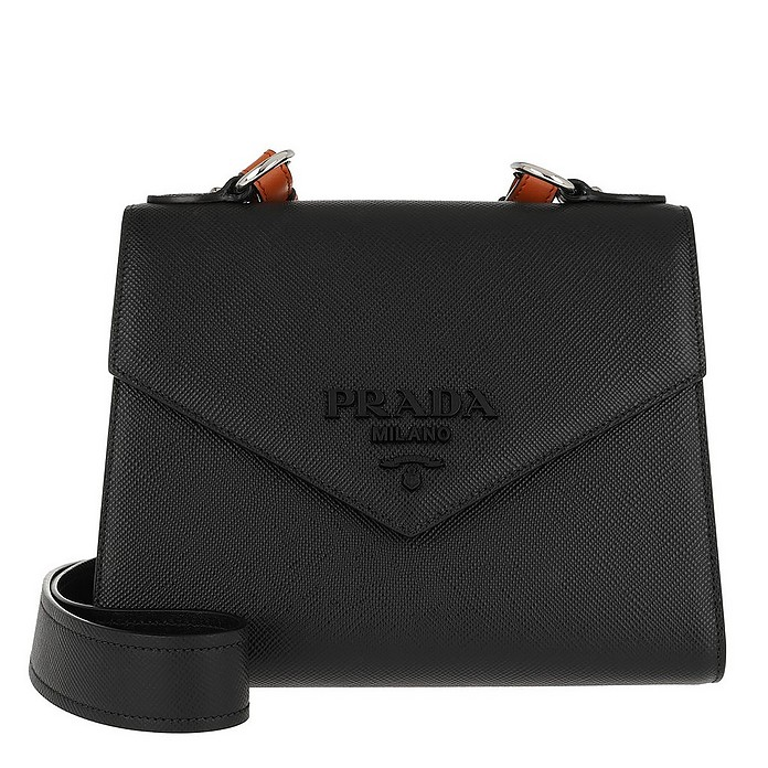 latest discount cost charm discount up to 60% Prada Monochrome Saffiano Leather Bag Black/Papaya