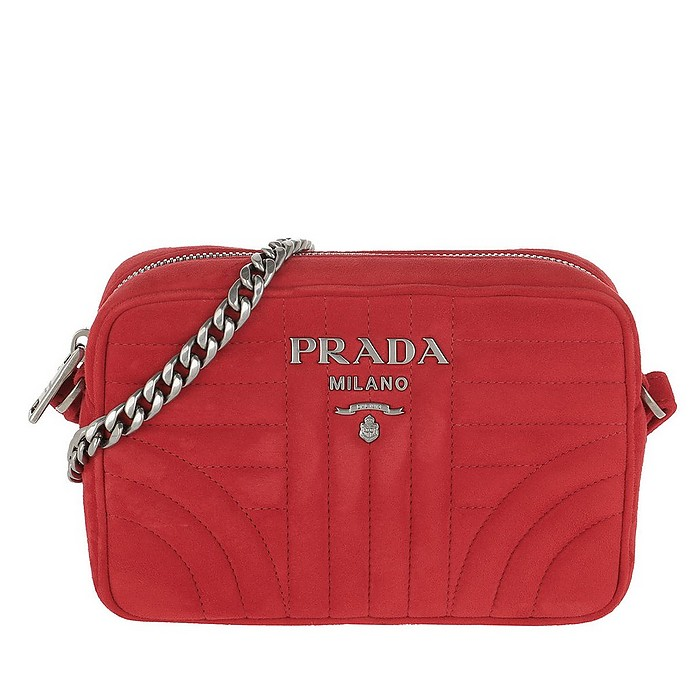 fdc1182d036c Prada Diagramme Crossbody Bag Suede Rosso at FORZIERI UK