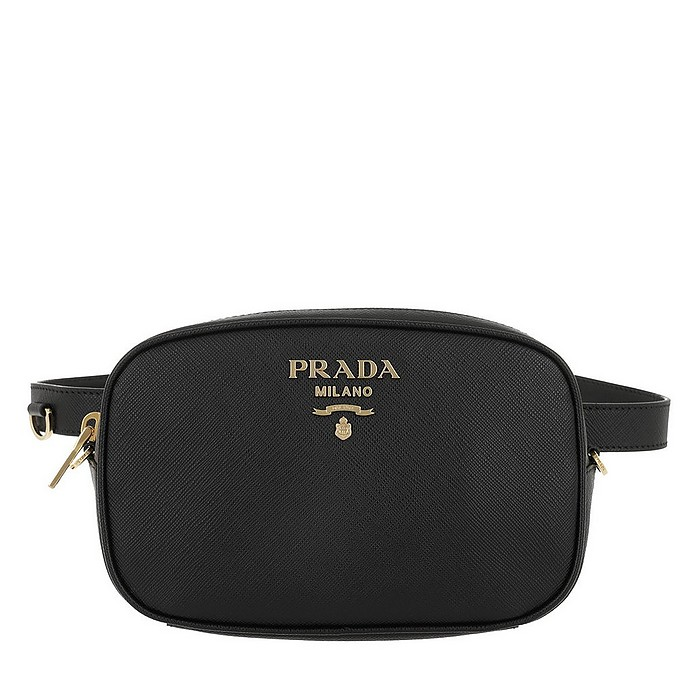 Saffiano Leather Belt Bag Black w/75 cm Strap - Prada