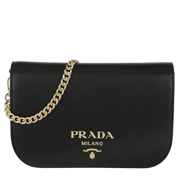 eaa49b88028d Prada Saffiano Leather Shoulder Bag Black at FORZIERI