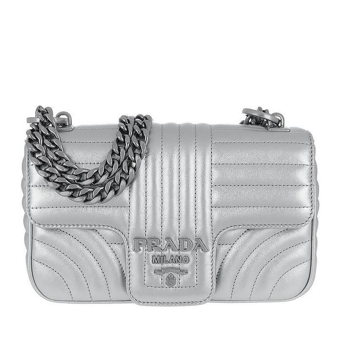 d0521a3a82a4 Prada Diagramme Shoulder Bag Leather Silver at FORZIERI