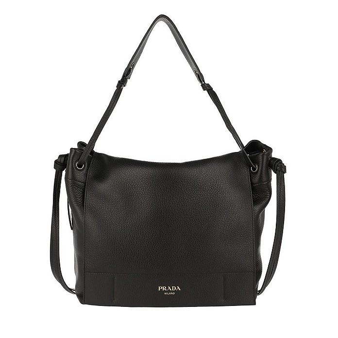 Shoulder Bag Grained Leather Nero - Prada
