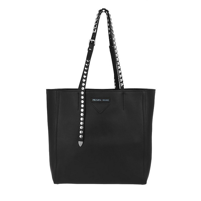 Grace Leather Tote Studded Nero - Prada