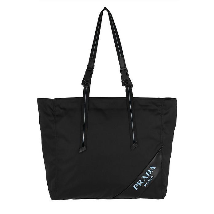 e69bcbbefabe Prada Logo Patch Shopping Bag Nylon Black at FORZIERI UK