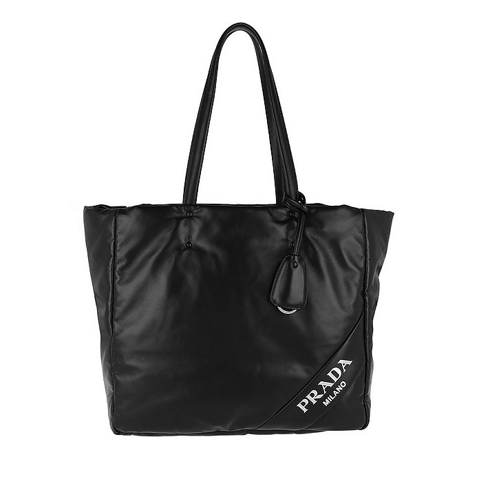 Logo Patch Shopping Bag Black/Pink - Prada