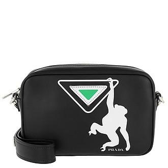 c60dc2bb1639 Logo Print Shoulder Bag Leather Black/Green - Prada