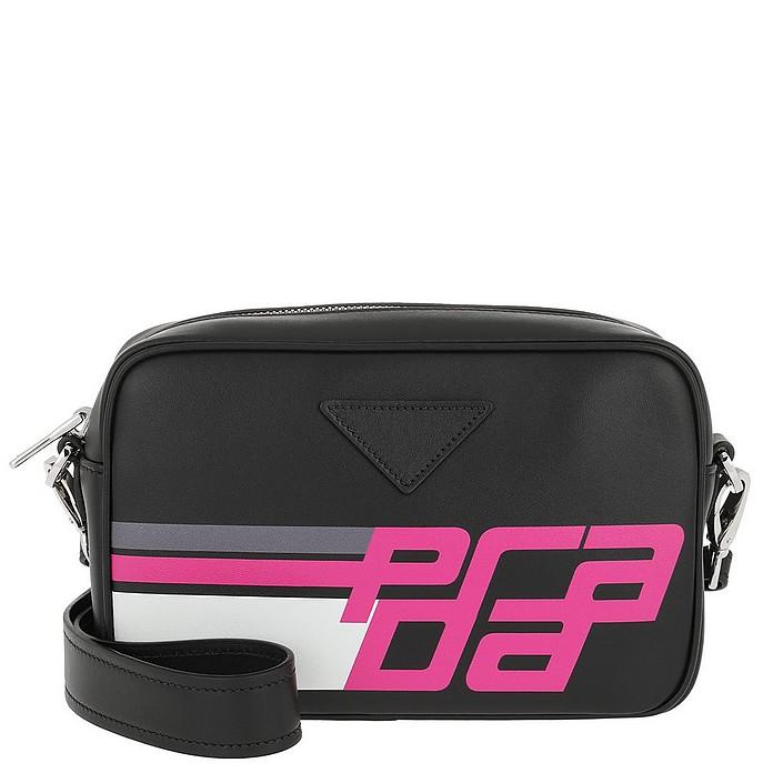 Logo Print Shoulder Bag Leather Black/Fuchsia - Prada