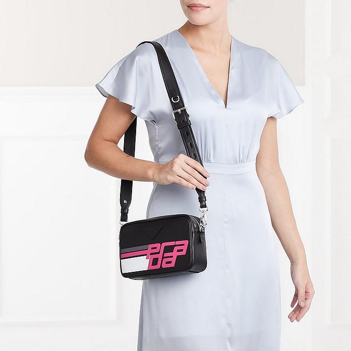 37c1e0522402 Logo Print Shoulder Bag Leather Black/Fuchsia - Prada. $1,278.75 $1,705.00  Actual transaction amount
