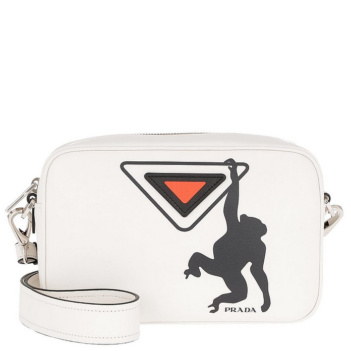 Logo Print Shoulder Bag Leather White/Papaya - Prada / プラダ