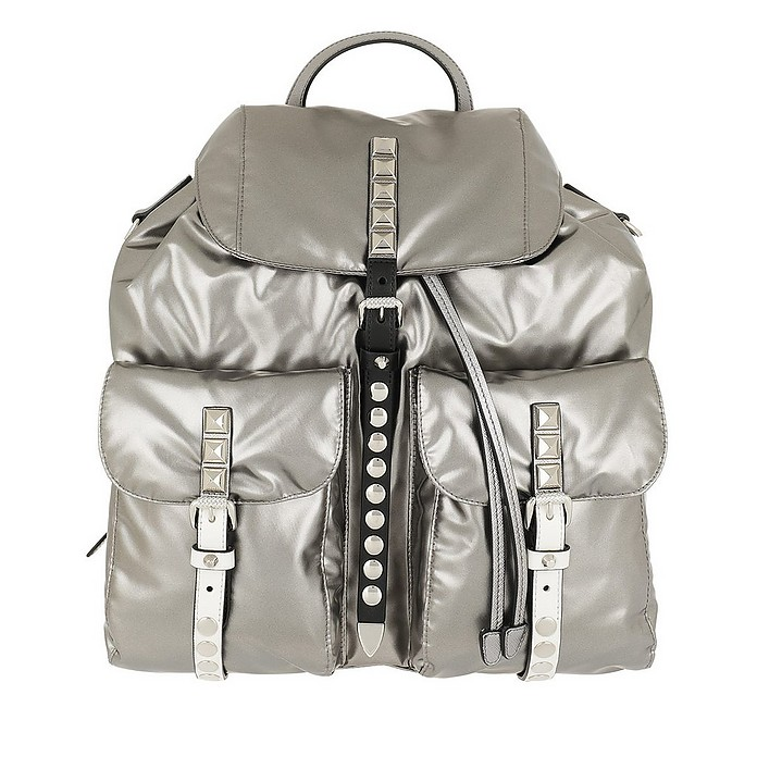 Metallic Backpack Nylon Iron/Black - Prada