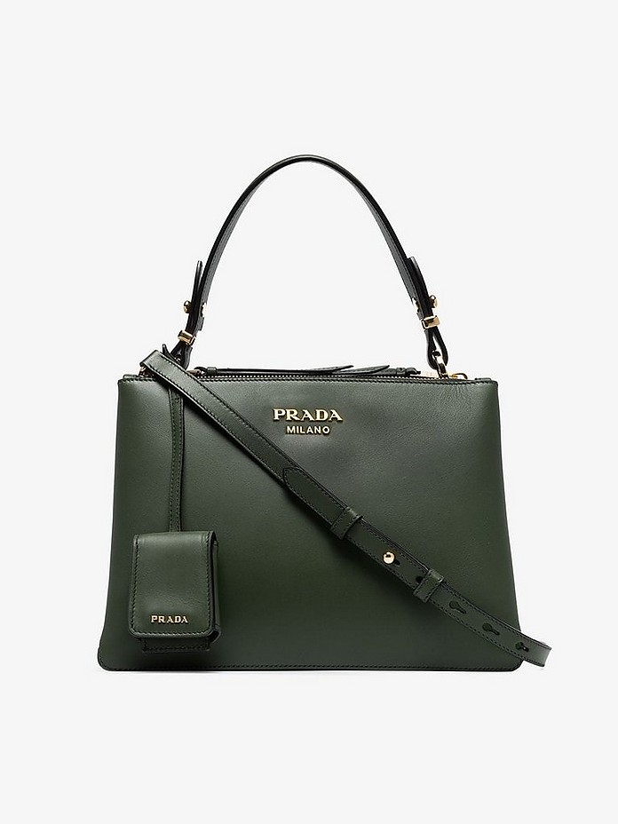 Prada Totes Green Leather Deux Small Tote Bag