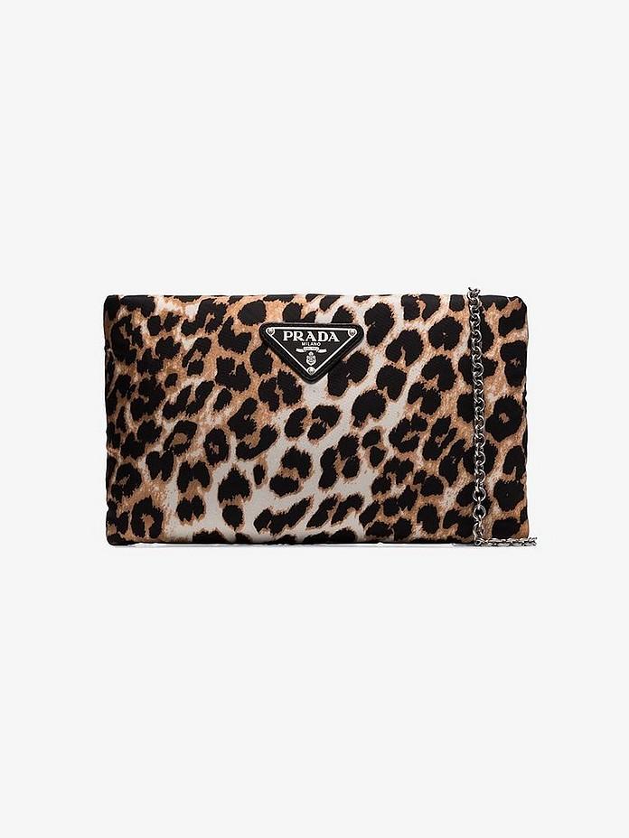 Brown Leopard Print Nylon Clutch - Prada