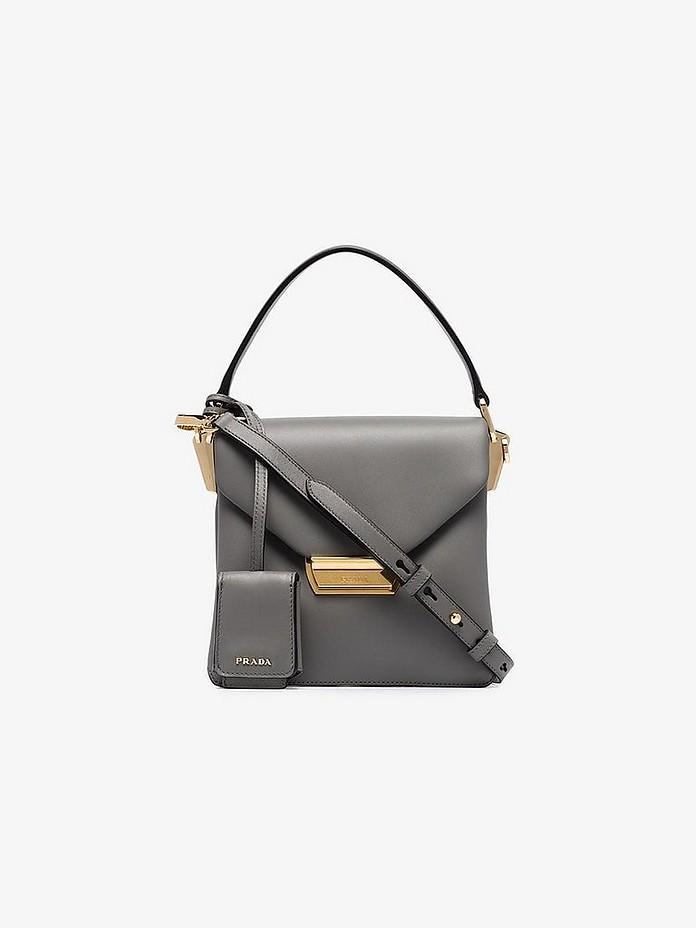 Prada Shoulder Grey Mini Leather Shoulder Bag