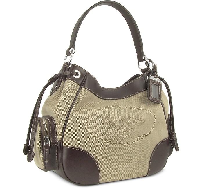 2e90059c217 Prada Logo Jacquard - Canvas and Dark Brown Leather Hobo Bag at ...
