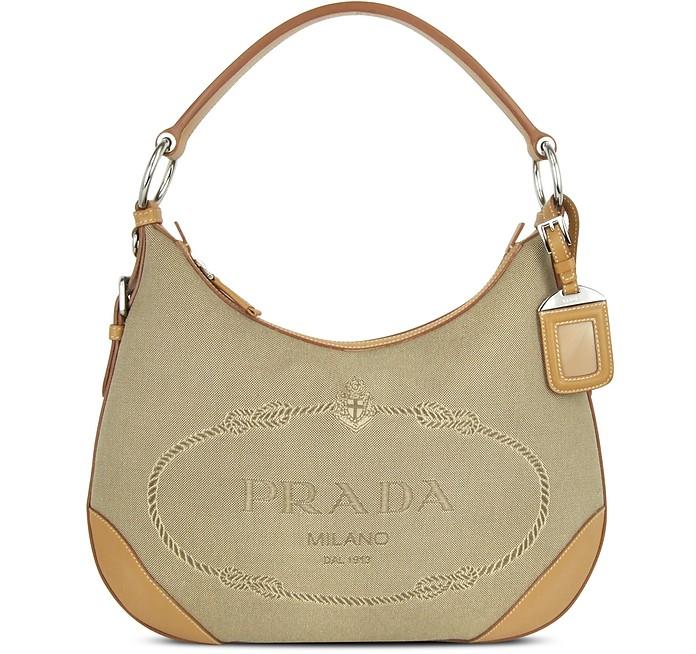 f7d5d78e8ab Prada Logo Jacquard - Canvas and Camel Leather Hobo Bag at FORZIERI