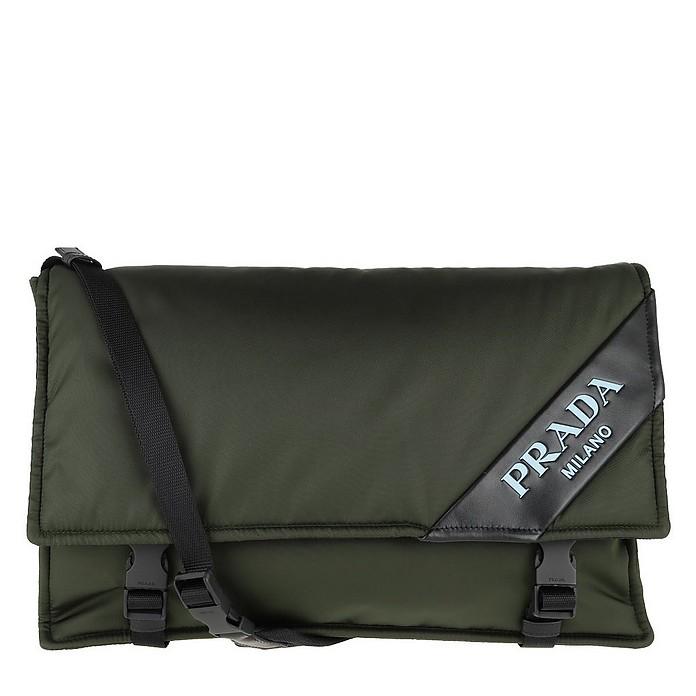 Logo Crossbody Bag Large Nylon Militare - Prada