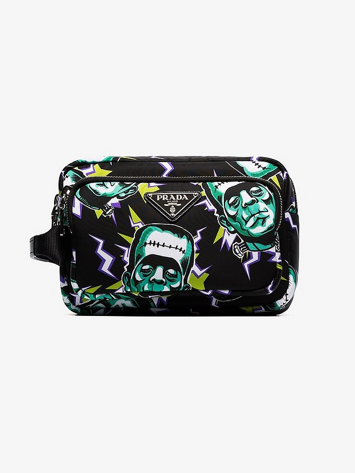 Prada Accessories Printed technical fabric pouch