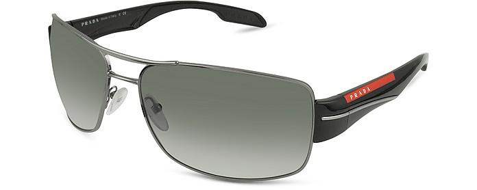 Rectangle Metal Frame Sunglasses - Prada