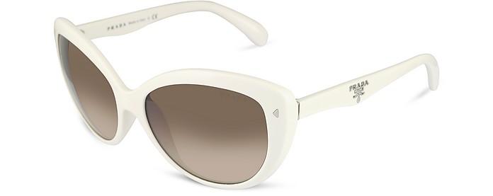 Round Plastic White Sunglasses - Prada